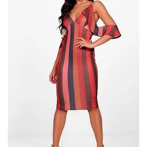 Stripe cold ruffle shoulder midi dress | sz 10